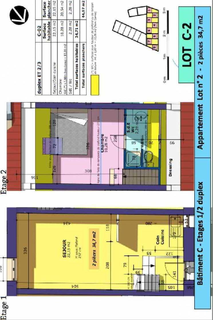 Plan 2, appartement neuf type T2 au 1er étage, faisant 35m² du programme neuf Rue de Gournay - Bat C à Chelles.