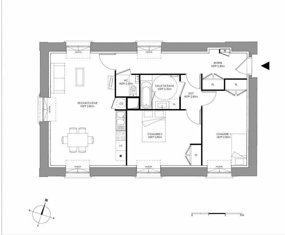 Plan 2.001, appartement neuf type T3 au Rez de chaussée, faisant 76m² du programme neuf LE DOMAINE SAINT-LOUIS à Chalon-sur-Saône.