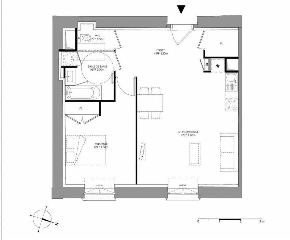 Plan 2.002, appartement neuf type T2 au Rez de chaussée, faisant 56m² du programme neuf LE DOMAINE SAINT-LOUIS à Chalon-sur-Saône.