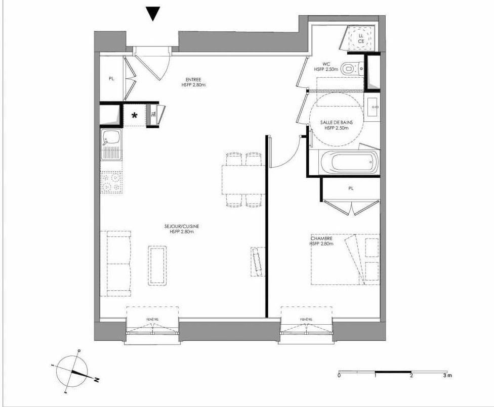 Plan 2.003, appartement neuf type T2 au Rez de chaussée, faisant 54m² du programme neuf LE DOMAINE SAINT-LOUIS à Chalon-sur-Saône.