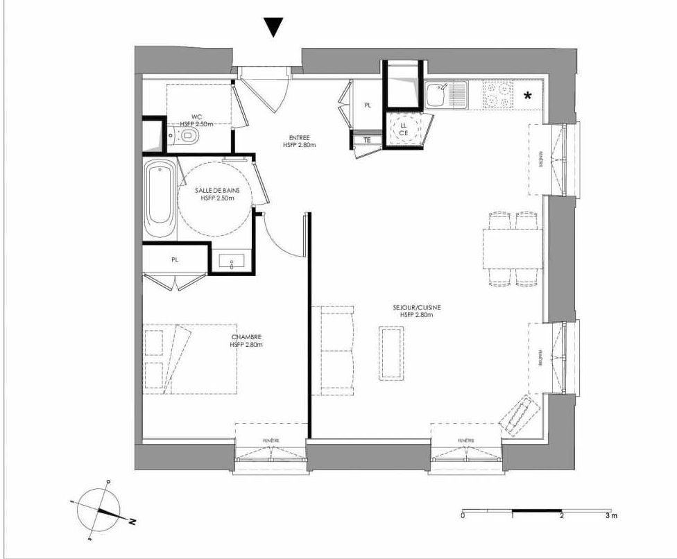 Plan 2.005, appartement neuf type T2 au Rez de chaussée, faisant 56m² du programme neuf LE DOMAINE SAINT-LOUIS à Chalon-sur-Saône.