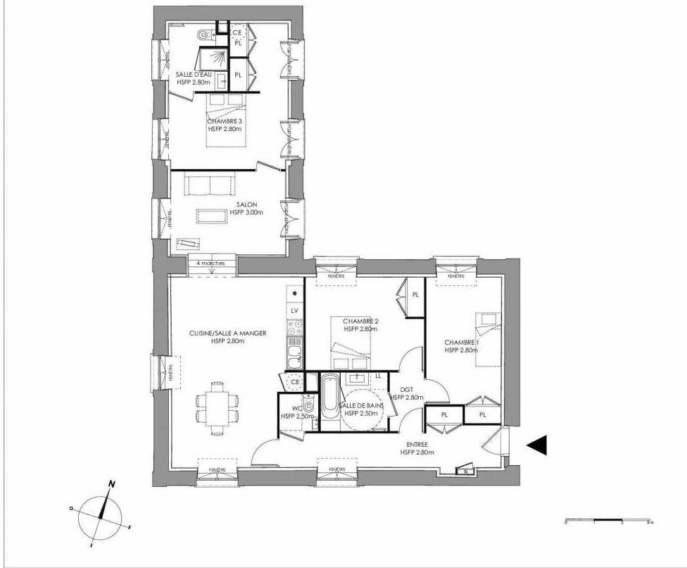 Plan 2.006, appartement neuf type T4 au Rez de chaussée, faisant 109m² du programme neuf LE DOMAINE SAINT-LOUIS à Chalon-sur-Saône.