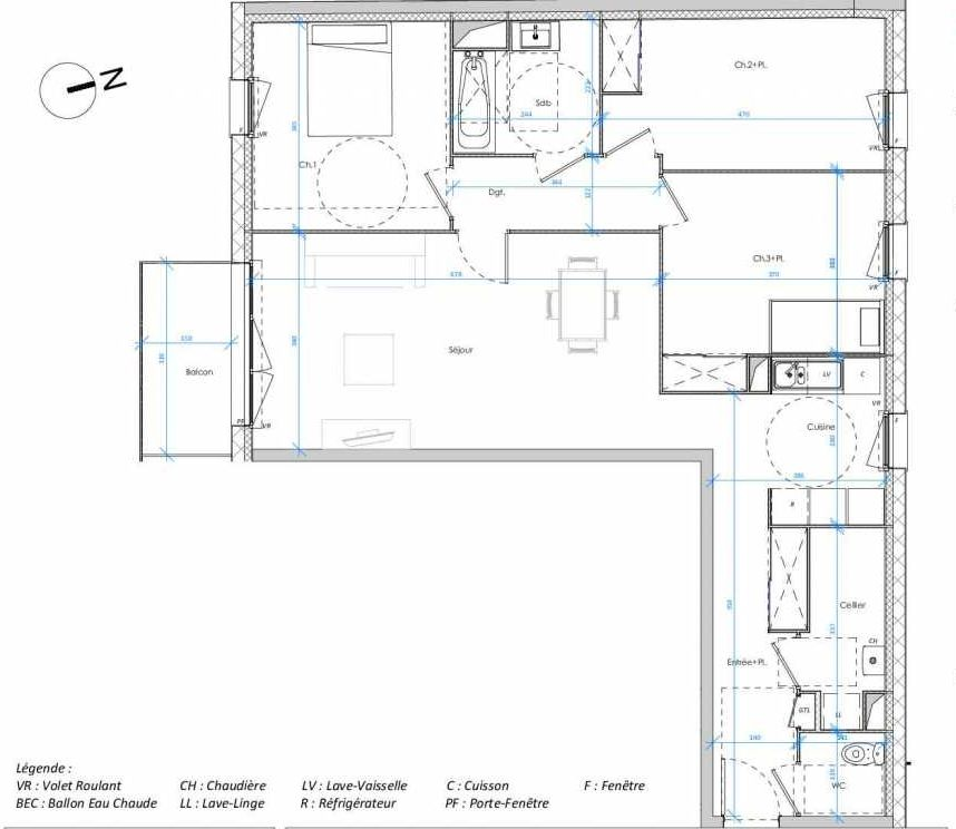 Plan 2.02, appartement neuf type T4 au 2ème étage, orienté Sud faisant 90m² du programme neuf Les Jardins des Docks à Le Havre.