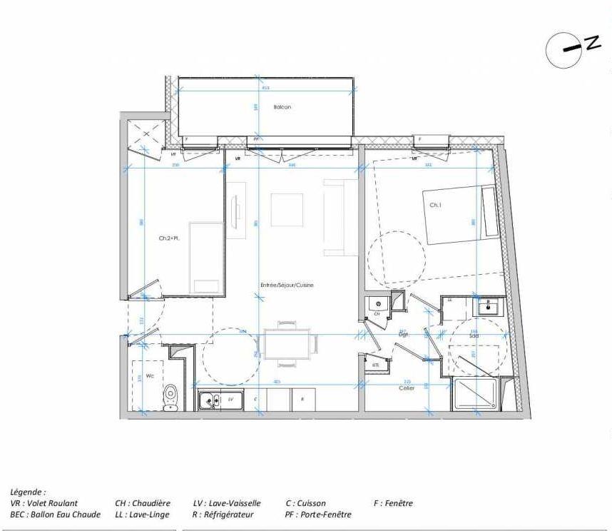 Plan 2.03, appartement neuf type T3 au 2ème étage, orienté Ouest faisant 64m² du programme neuf Les Jardins des Docks à Le Havre.