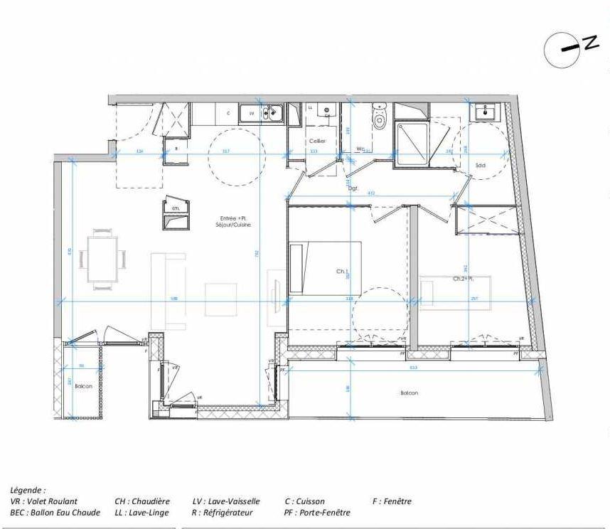 Plan 2.04, appartement neuf type T3 au 2ème étage, orienté Est faisant 75m² du programme neuf Les Jardins des Docks à Le Havre.