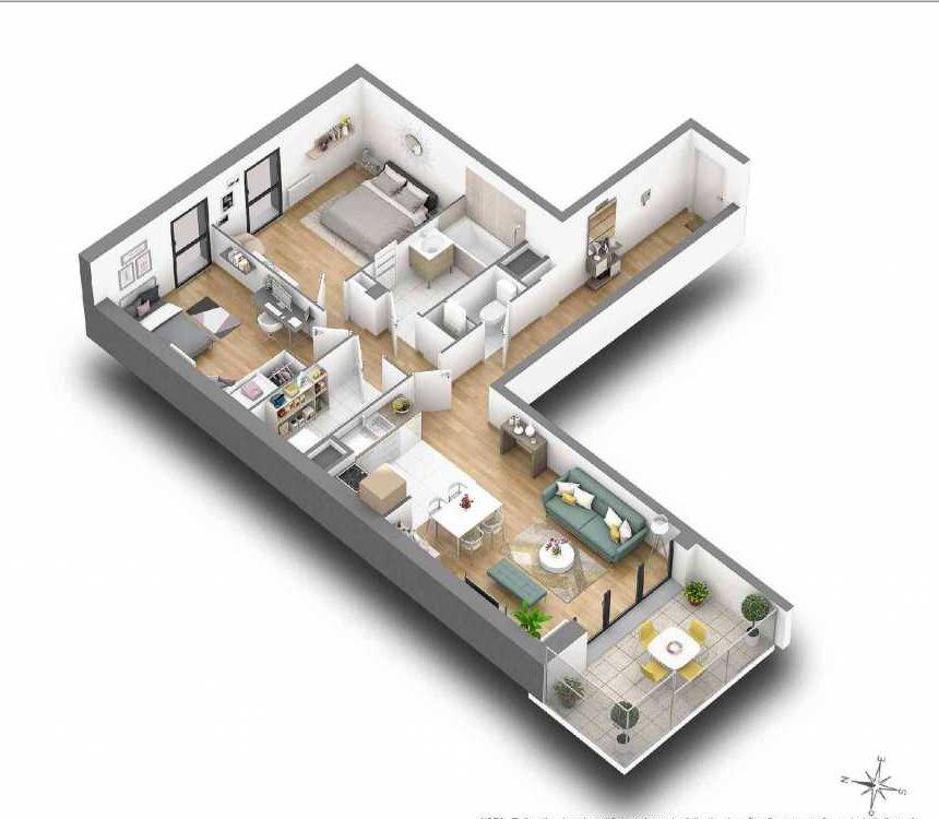 Plan 2.04, appartement neuf type T3 au Rez de chaussée, faisant 74m² du programme neuf TRIO VERDE à Rennes.