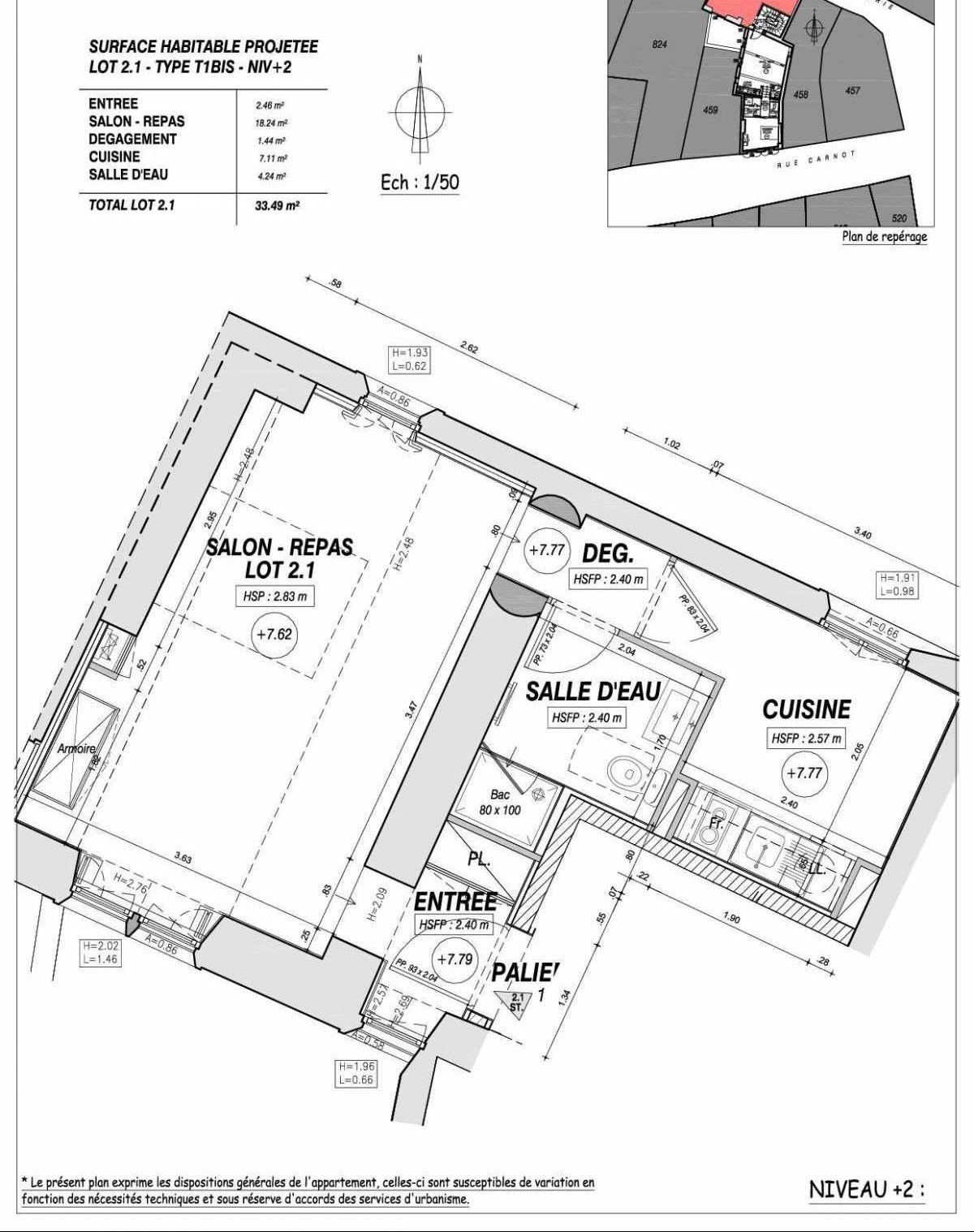 Plan recadré Le 17 Carnot - AVIGNON