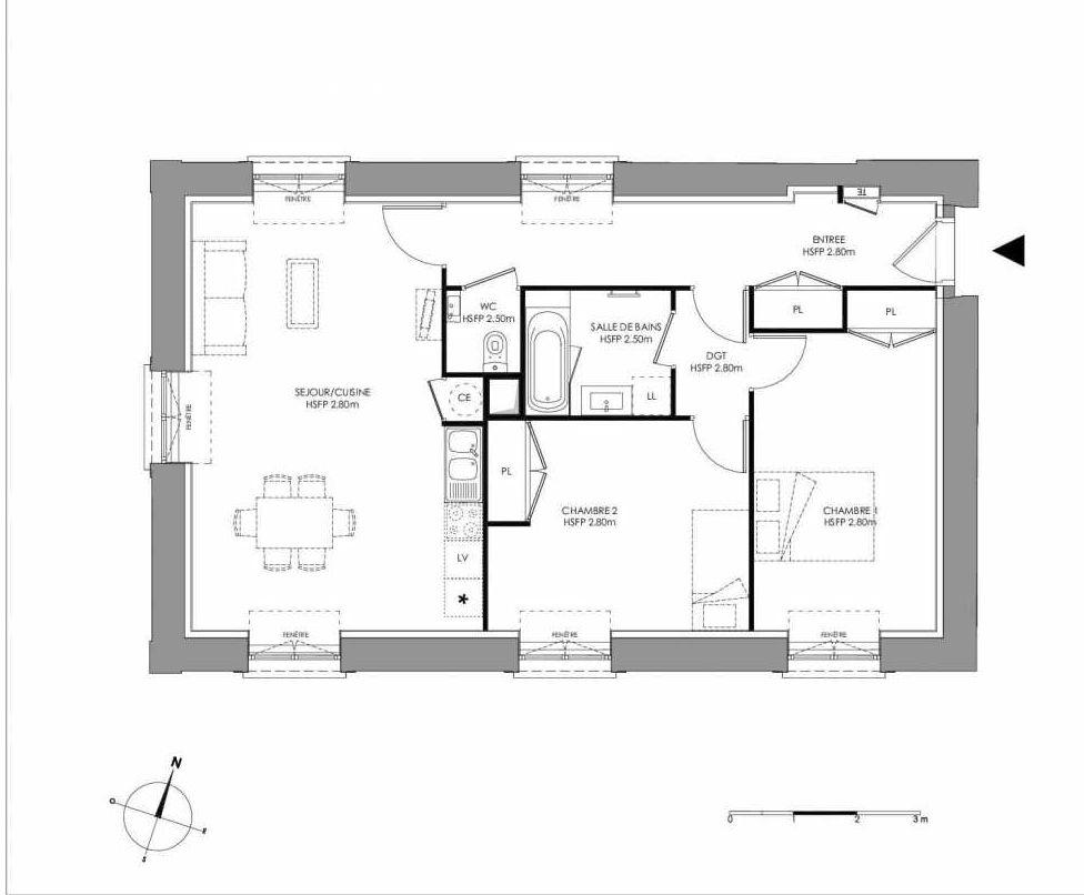 Plan 2.101, appartement neuf type T3 au 1er étage, faisant 76m² du programme neuf LE DOMAINE SAINT-LOUIS à Chalon-sur-Saône.
