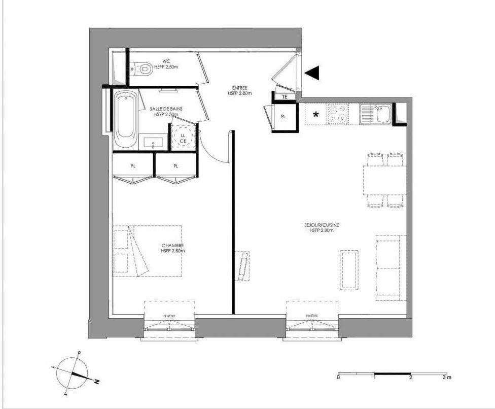 Plan 2.103, appartement neuf type T2 au 1er étage, faisant 52m² du programme neuf LE DOMAINE SAINT-LOUIS à Chalon-sur-Saône.