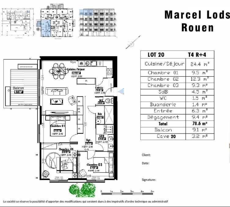 Plan 20, appartement neuf type T4 au 4ème étage, faisant 79m² du programme neuf 15 rue Jean-Philippe Rameau à Rouen.