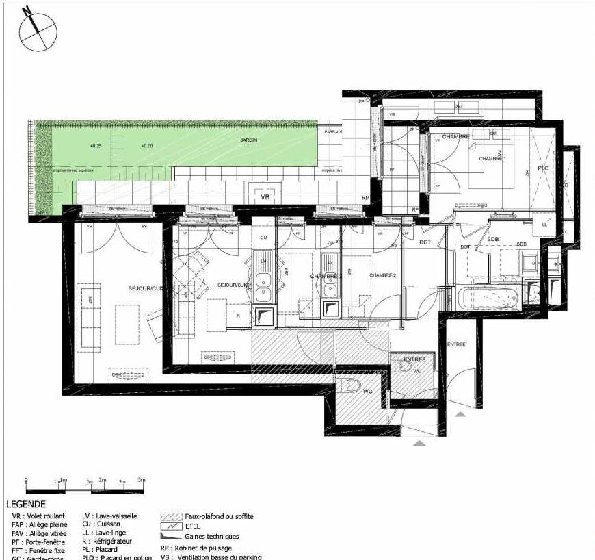 Plan 2001, appartement neuf type T3 au Rez de jardin, orienté Est faisant 60m² du programme neuf 11ÈME AVENUE ACCESSION à Eaubonne.
