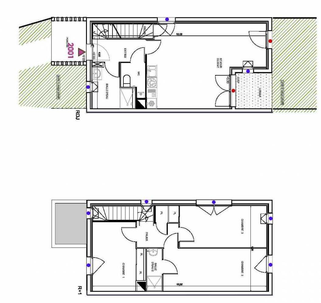 Plan 2001, appartement neuf type T4 au Rez de chaussée, orienté Sud faisant 85m² du programme neuf CARRES DES LACS LOGEMENTS à Parempuyre.