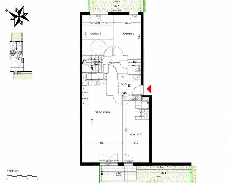 Plan 2001, appartement neuf type T4 au Rez de chaussée, orienté Ouest faisant 86m² du programme neuf LES COTTAGES D'AMILLY CAGE 02 à Serris.