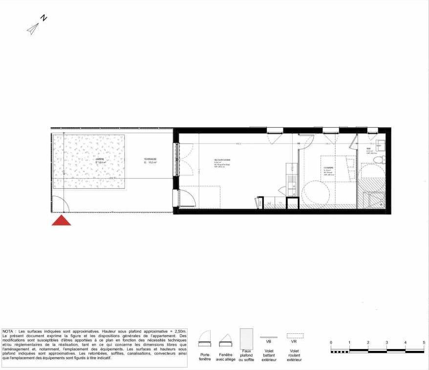 Plan 2001, appartement neuf type T2 au Rez de chaussée, orienté Sud faisant 44m² du programme neuf LES HERBES FOLLES MIXTE ACCESSION à Brétigny-sur-Orge.