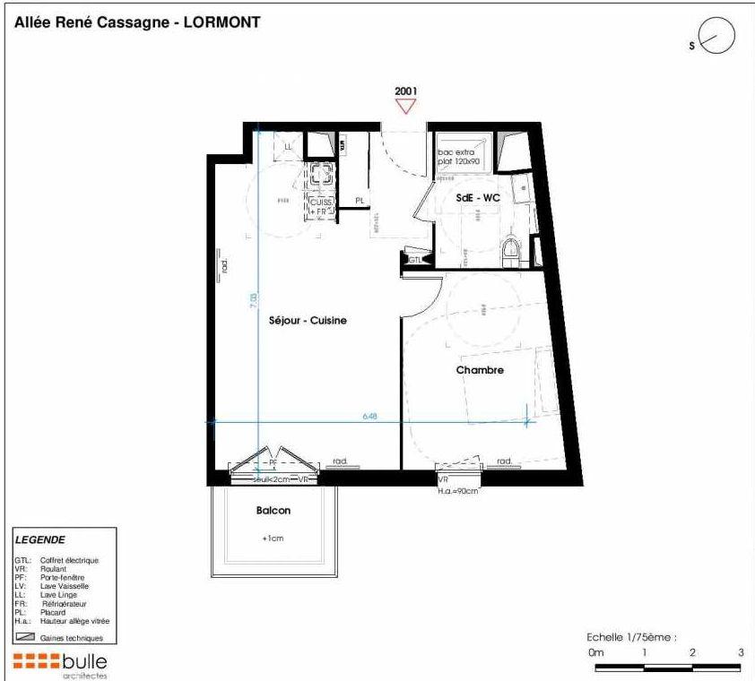 Plan 2001, appartement neuf type T2 au 1er étage, faisant 46m² du programme neuf LES JARDINS D'ANAIS à Lormont.
