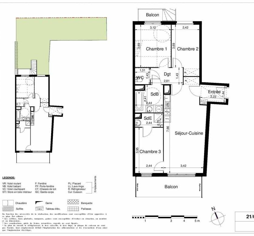 Plan 2001, appartement neuf type T4 au Rez de chaussée, orienté Sud faisant 76m² du programme neuf LES JARDINS D'ARGELIES BÂTIMENT 1 ET 2 à Juvisy-sur-Orge.