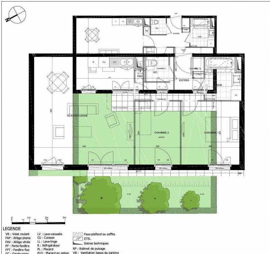 Plan 2002, appartement neuf type T3 au Rez de jardin, orienté Ouest faisant 69m² du programme neuf 11ÈME AVENUE ACCESSION à Eaubonne.