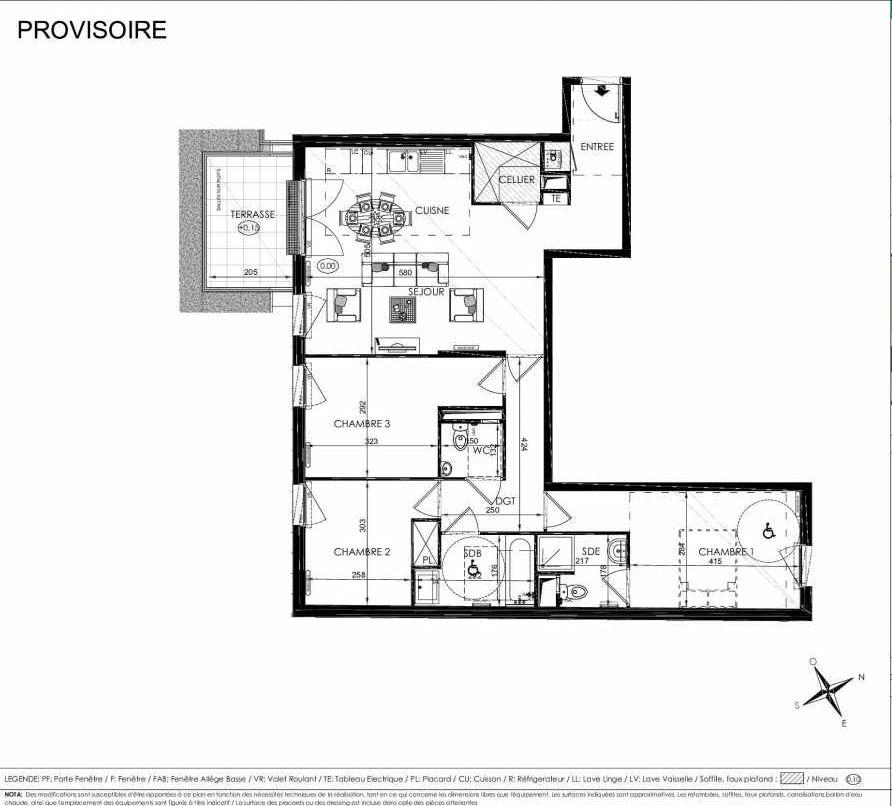 Plan 2002, appartement neuf type T4 au Rez de chaussée, orienté Sud faisant 85m² du programme neuf L'ALISEE à Les Clayes-sous-Bois.