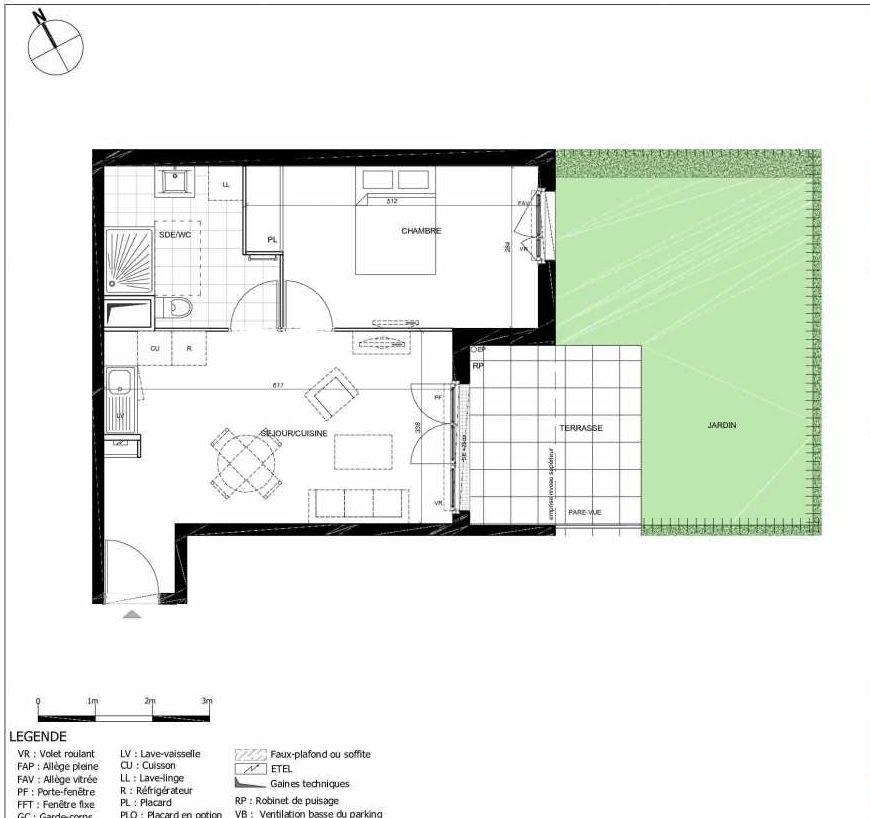 Plan 2003, appartement neuf type T2 au Rez de jardin, orienté Sud faisant 43m² du programme neuf 11ÈME AVENUE ACCESSION à Eaubonne.