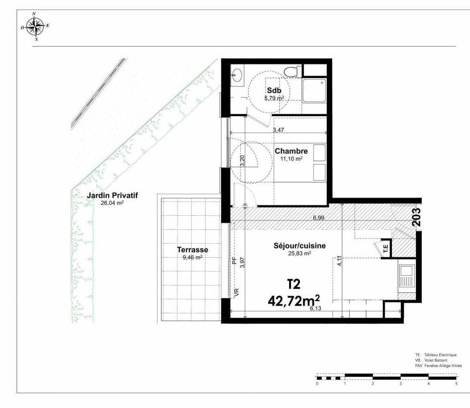 Plan 2003, appartement neuf type T2 au Rez de chaussée, orienté Ouest faisant 43m² du programme neuf AIXCELLENCE BATIMENT 2 AL à Aix-en-Provence.