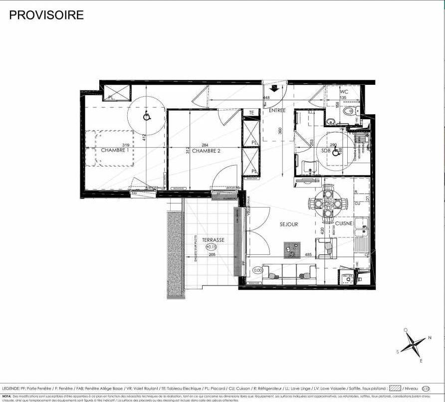 Plan 2003, appartement neuf type T3 au Rez de chaussée, orienté Sud faisant 60m² du programme neuf L'ALISEE à Les Clayes-sous-Bois.