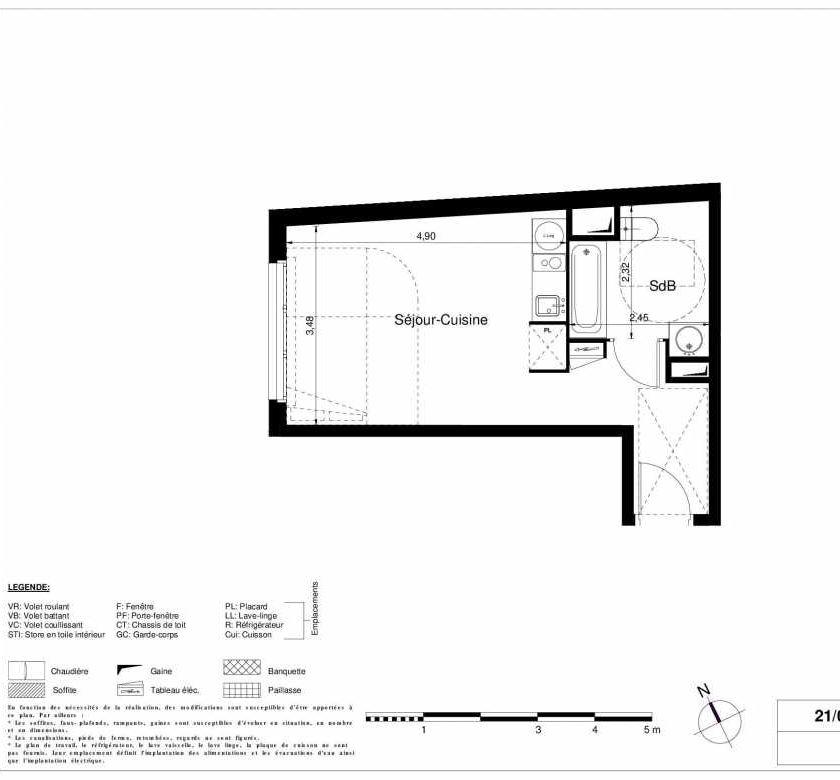 Plan 2003, appartement neuf type T1 au Rez de chaussée, orienté Ouest faisant 28m² du programme neuf LES JARDINS D'ARGELIES BÂTIMENT 1 ET 2 à Juvisy-sur-Orge.