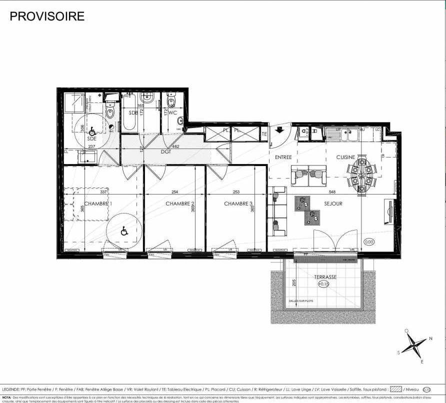 Plan 2004, appartement neuf type T4 au Rez de chaussée, orienté Sud faisant 78m² du programme neuf L'ALISEE à Les Clayes-sous-Bois.