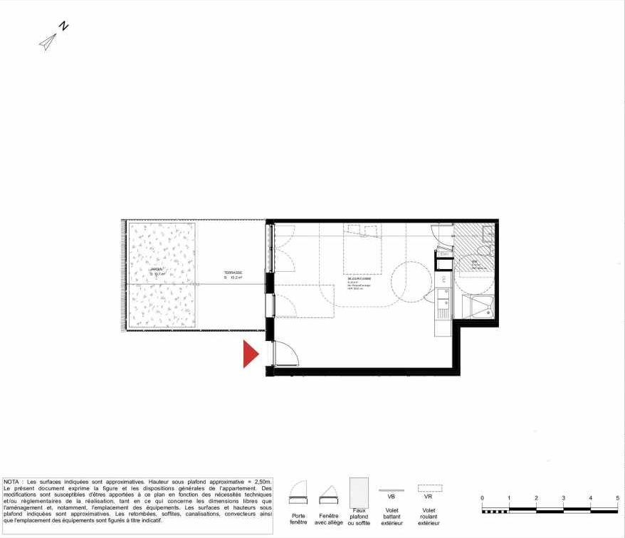 Plan 2004, appartement neuf type T1 au Rez de chaussée, orienté Sud faisant 40m² du programme neuf LES HERBES FOLLES MIXTE ACCESSION à Brétigny-sur-Orge.