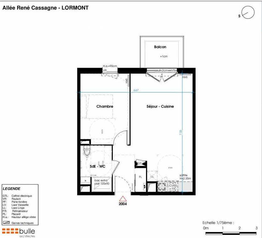 Plan 2004, appartement neuf type T2 au 1er étage, orienté Ouest faisant 45m² du programme neuf LES JARDINS D'ANAIS BAT 2 à Lormont.