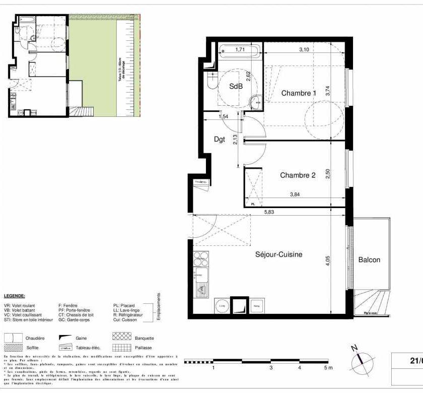 Plan 2005, appartement neuf type T3 au Rez de chaussée, orienté Est faisant 56m² du programme neuf LES JARDINS D'ARGELIES BÂTIMENT 1 ET 2 à Juvisy-sur-Orge.