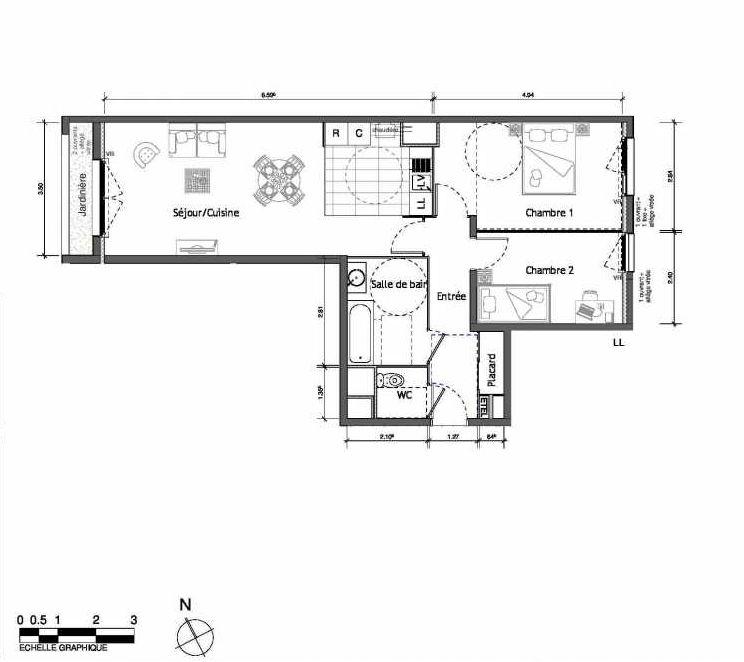 Plan 2005, appartement neuf type T3 au Rez de chaussée, orienté Ouest faisant 66m² du programme neuf LUMI'R BATIMENT B - 39 LOTS ACCESS à Rouen.