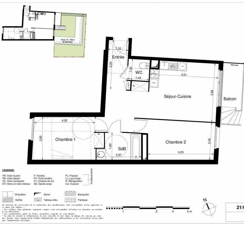 Plan 2006, appartement neuf type T3 au Rez de chaussée, orienté Est faisant 61m² du programme neuf LES JARDINS D'ARGELIES BÂTIMENT 1 ET 2 à Juvisy-sur-Orge.