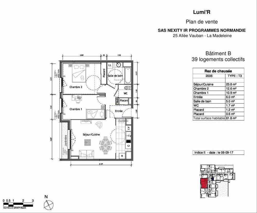 Plan 2006, appartement neuf type T2 au Rez de chaussée, orienté Ouest faisant 50m² du programme neuf LUMI'R BATIMENT B - 39 LOTS ACCESS à Rouen.