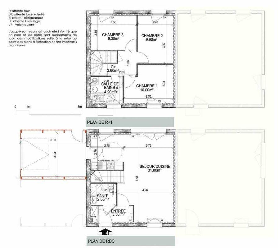 Plan 2007, appartement neuf type T4 au Rez de chaussée, orienté Sud faisant 75m² du programme neuf LES VILLAS SAINT HONORE TRANCHE 2 18 MI à Amiens.