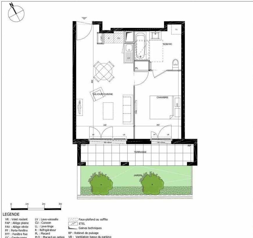Plan 2008, appartement neuf type T2 au Rez de jardin, orienté Sud faisant 41m² du programme neuf 11ÈME AVENUE ACCESSION à Eaubonne.
