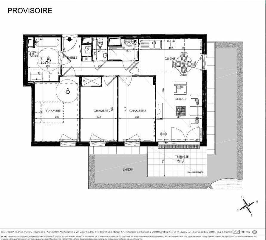 Plan 2009, appartement neuf type T4 au Rez de chaussée, orienté Est faisant 71m² du programme neuf L'ALISEE à Les Clayes-sous-Bois.