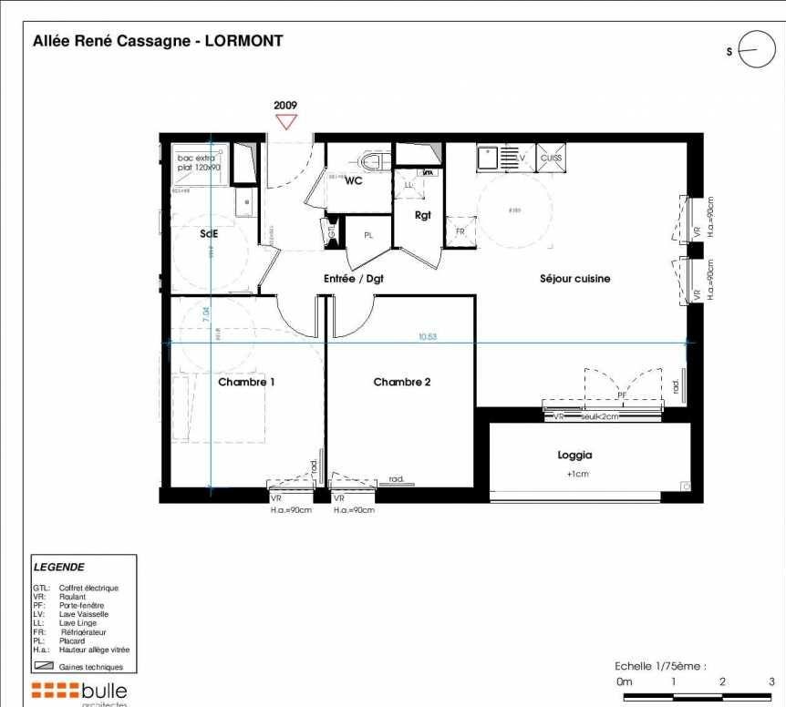 Plan 2009, appartement neuf type T3 au 1er étage, orienté Est faisant 64m² du programme neuf LES JARDINS D'ANAIS BOTERO à Lormont.