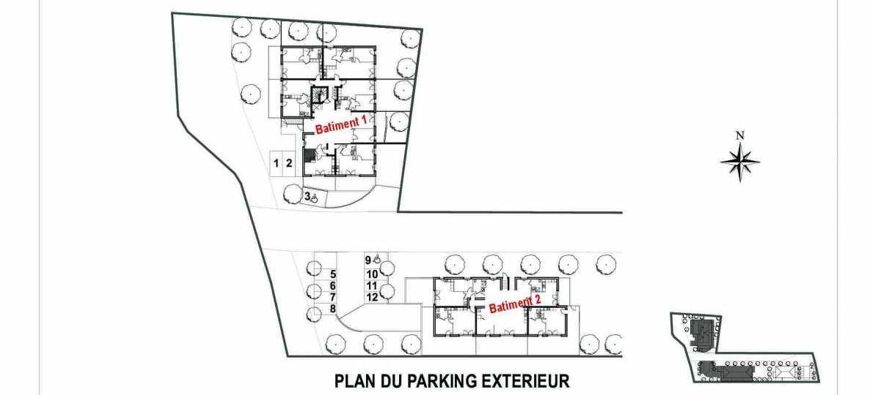 Plan 201*, appartement neuf type T2 au Rez de chaussée, faisant 42m² du programme neuf Pin Paradis à Bormes-les-Mimosas.
