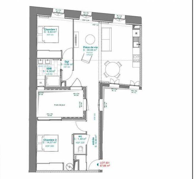 Plan 201, appartement neuf type T3 au 2ème étage, orienté Nord faisant 68m² du programme neuf 15 rue Contrescarpe à Bordeaux.