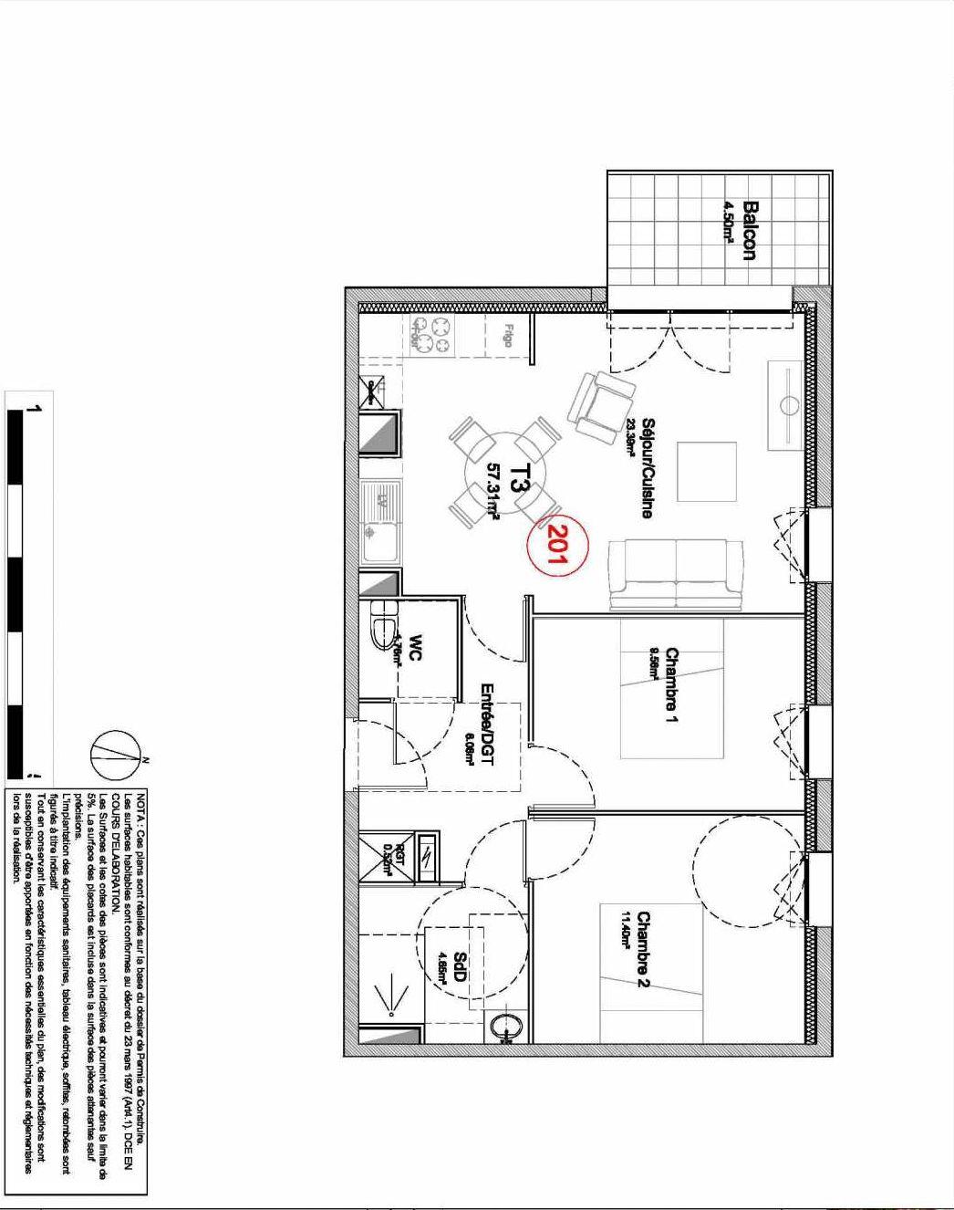 Plan 201, appartement neuf type T3 au 2ème étage, orienté Ouest faisant 57m² du programme neuf 194 OUEST AVENUE à Déville-lès-Rouen.