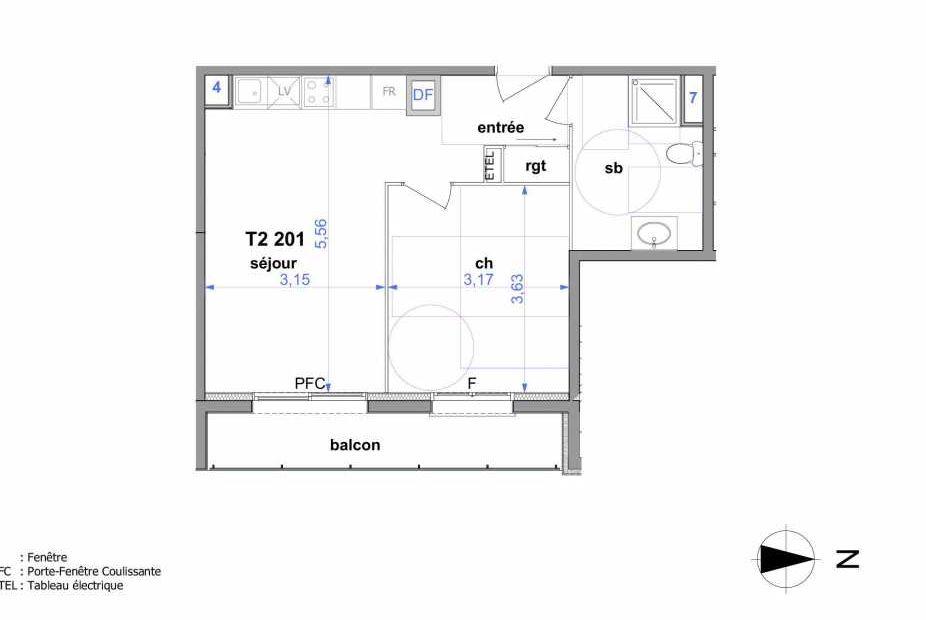 Plan 201, appartement neuf type T2 au 2ème étage, orienté Est faisant 41m² du programme neuf Au fil de l'O1 à Maromme.