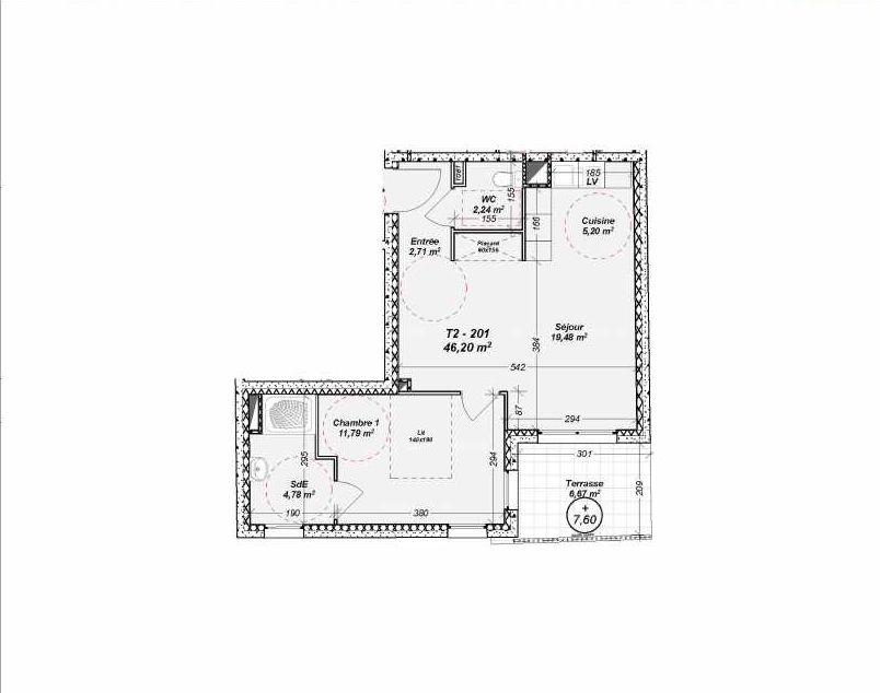 Plan 201, appartement neuf type T2 au 2ème étage, orienté Sud faisant 46m² du programme neuf Le Dôme à Marseille.