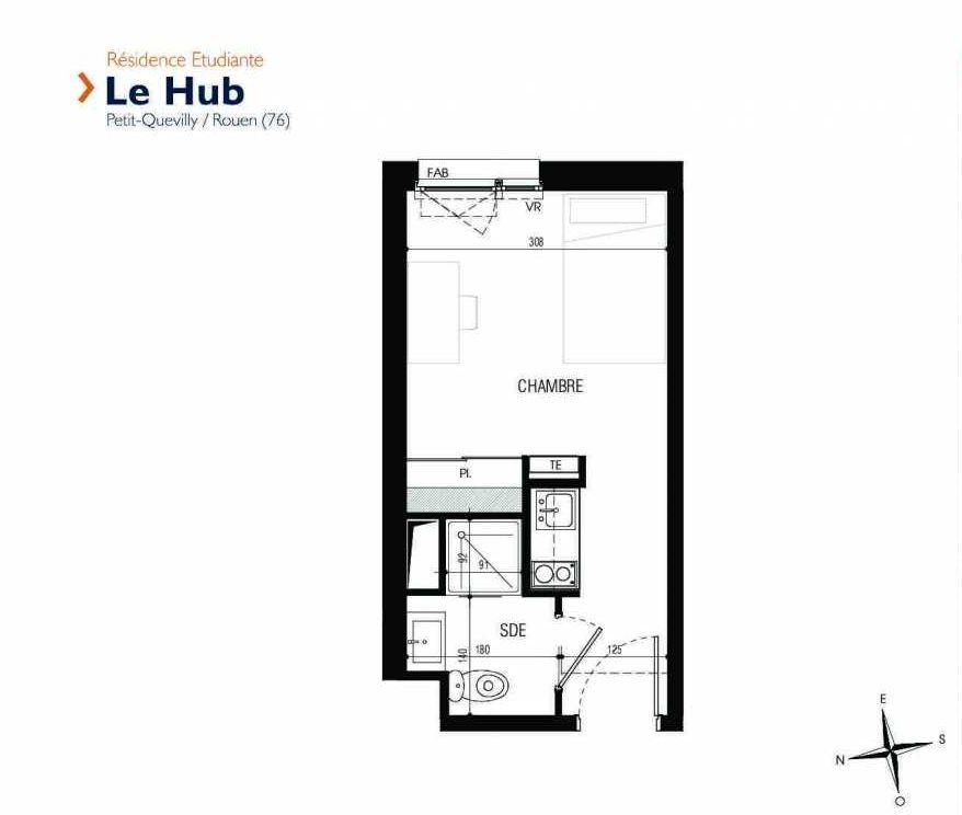 Plan 201, appartement neuf type T1 au 2ème étage, faisant 18m² du programme neuf Le Hub à Le Petit-Quevilly.