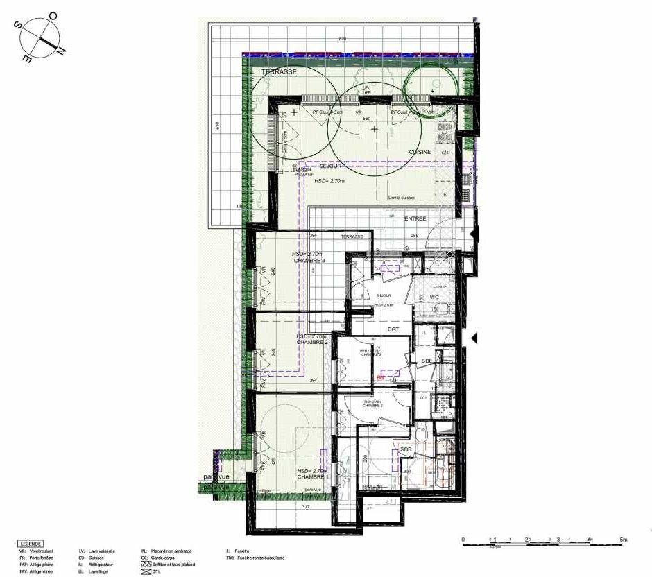 Plan 201, appartement neuf type T4 au Rez de chaussée, orienté Sud faisant 74m² du programme neuf LES JARDINS BALZAC BAT 3 à Argenteuil.