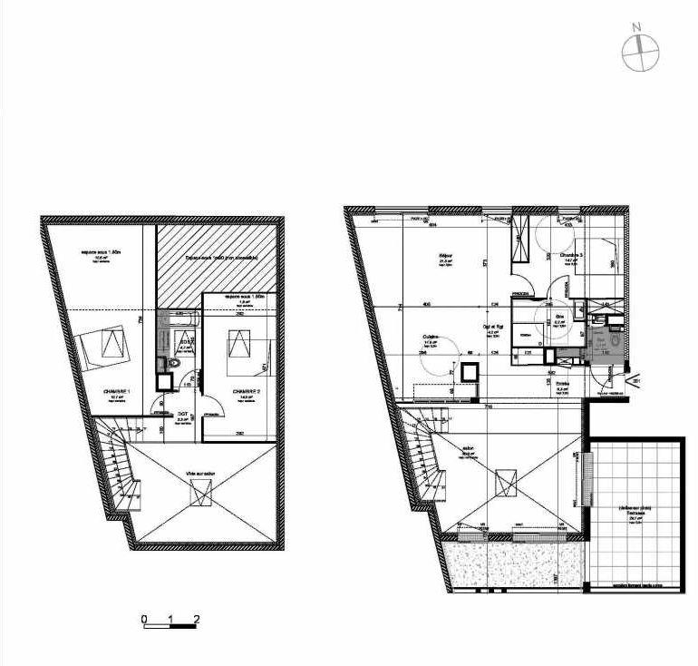 Plan 201, appartement neuf type T4 au 2ème étage, orienté Sud faisant 131m² du programme neuf VILLA DES PINS à Les Sables-d'Olonne.
