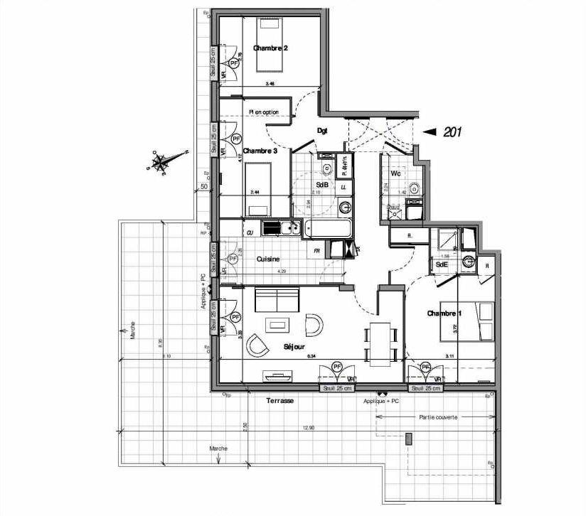 Plan 201, appartement neuf type T4 au Rez de chaussée, orienté Sud faisant 84m² du programme neuf VILLA LOUISE BAT B - 201 A 224 à Andilly.