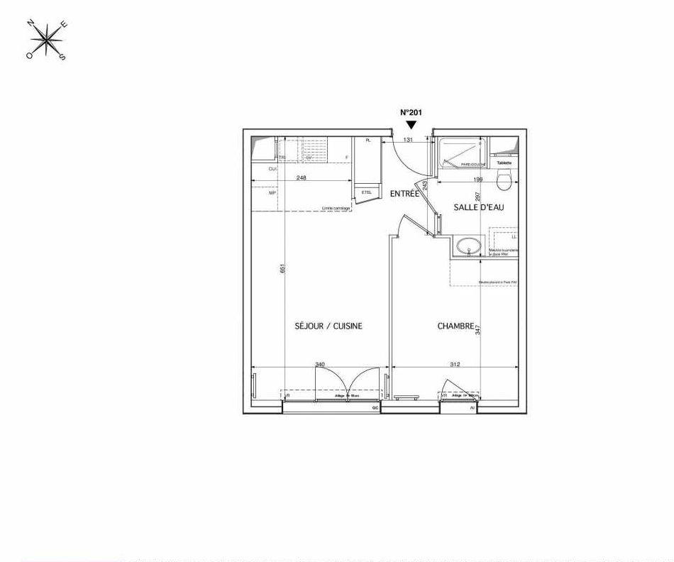 Plan 201, appartement neuf type T2 au 2ème étage, orienté Sud faisant 41m² du programme neuf Westmont à Rueil-Malmaison.