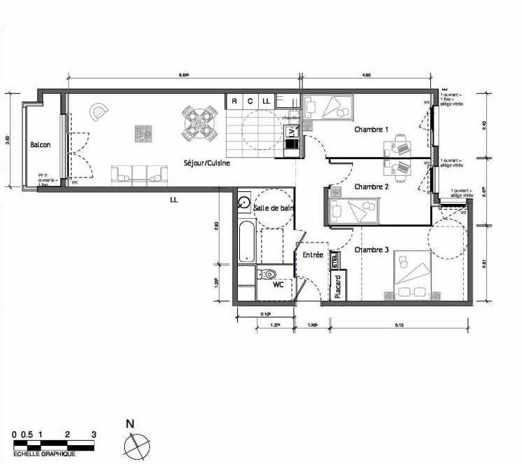 Plan 2015, appartement neuf type T4 au 1er étage, orienté Est faisant 80m² du programme neuf LUMI'R BATIMENT B - 39 LOTS ACCESS à Rouen.