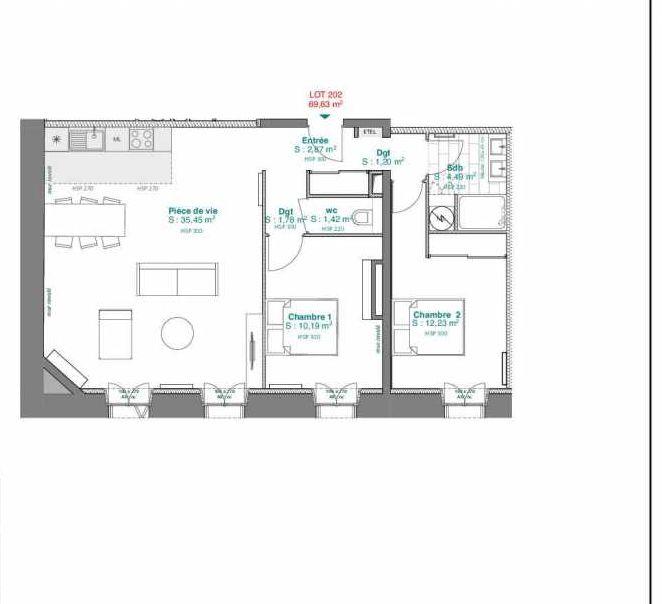 Plan 202, appartement neuf type T3 au 2ème étage, orienté Sud faisant 69m² du programme neuf 15 rue Contrescarpe à Bordeaux.