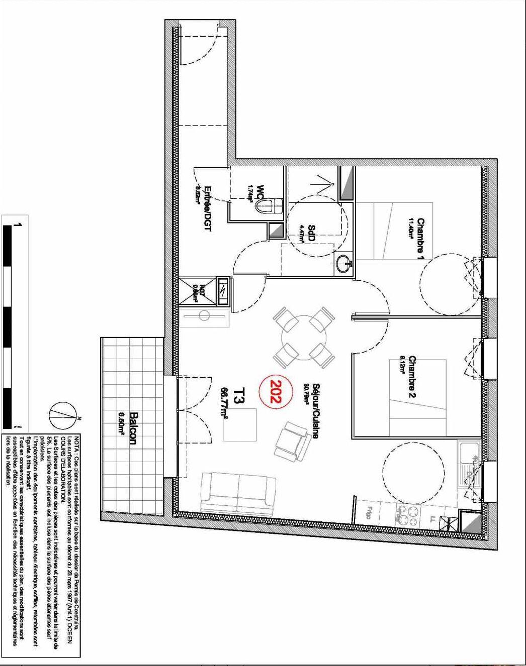 Plan 202, appartement neuf type T3 au 2ème étage, orienté Sud faisant 67m² du programme neuf 194 OUEST AVENUE à Déville-lès-Rouen.